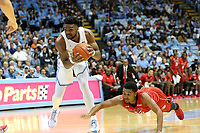 CHAPEL HILL, NC - NOVEMBER 01: Brandon Huffman #42 of the University of North Carolina grabs a loose ball during a game between Winston-Salem State University and University of North Carolina at Dean E. Smith Center on November 01, 2019 in Chapel Hill, North Carolina.