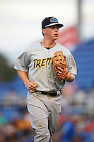 Trenton Thunder second basmean Tony Renda (9) jogs to the dugout during a game against the Binghamton Mets on August 8, 2015 at NYSEG Stadium in Binghamton, New York.  Trenton defeated Binghamton 4-2.  (Mike Janes/Four Seam Images)