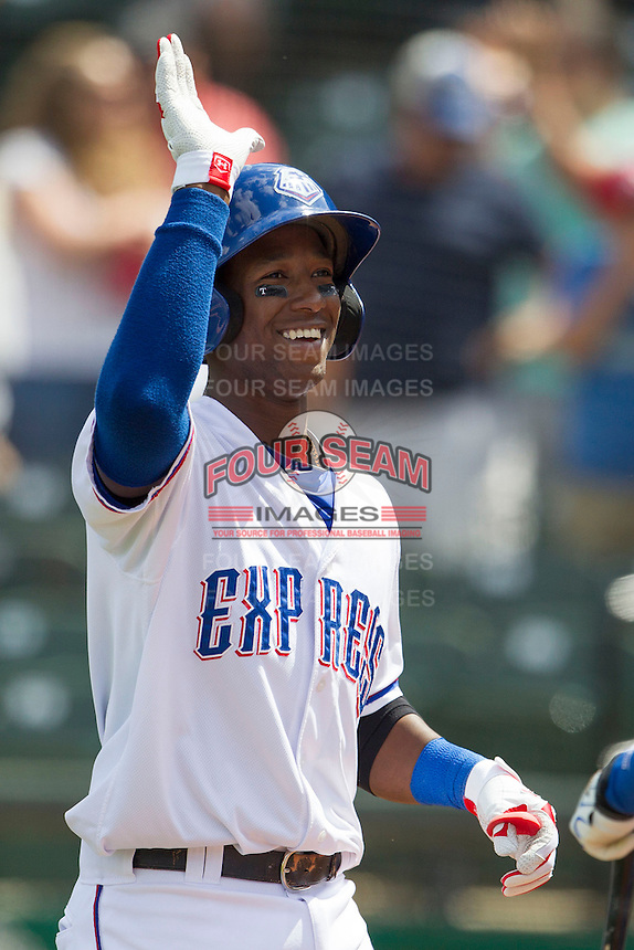 Round Rock Express shortstop Jurickson Profar #10 smiles after he blasted a grand slam home run the seventh inning of the Pacific Coast League baseball game against the New Orleans Zephyrs in the on April 21, 2013 at the Dell Diamond in Round Rock, Texas. Round Rock defeated New Orleans 7-1. (Andrew Woolley/Four Seam Images)