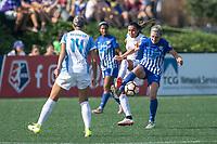 Allston, MA - Saturday August 19, 2017: Marta Vieira Da Silva, Megan Oyster during a regular season National Women's Soccer League (NWSL) match between the Boston Breakers and the Orlando Pride at Jordan Field.
