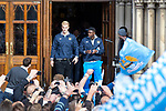 © Joel Goodman - 07973 332324  . 23/05/2011 . Manchester, UK . Joe Hart (left) & Paulo Torre (right) step out from Manchester Town Hall ahead of the parade . Tens of thousands of fans line the streets of Manchester as Manchester City Football Club hold an open-topped bus parade through the city. The team are celebrating winning the FA Cup, their first trophy in 35 years, and for qualifying for next season's Champions League . Photo credit: Joel Goodman