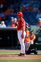 Philadelphia Phillies left fielder Jake Scheiner (84) at bat during a Grapefruit League Spring Training game against the Baltimore Orioles on February 28, 2019 at Spectrum Field in Clearwater, Florida.  Orioles tied the Phillies 5-5.  (Mike Janes/Four Seam Images)