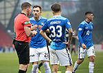 St Johnstone v Hamilton Accies…19.01.19…   McDiarmid Park    Scottish Cup 4th Round<br />Liam Craig confronts ref John Betaon after accies keeper Ryna Fulton handled the ball outside the penalty box<br />Picture by Graeme Hart. <br />Copyright Perthshire Picture Agency<br />Tel: 01738 623350  Mobile: 07990 594431