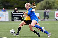 Amy Hislop of Southern competes for the ball with Ellen Fibbes of Capital during the Handa Women's Premiership - Capital Football v Southern United at Petone Memorial Park, Wellington on Saturday 7 November 2020.<br /> Copyright photo: Masanori Udagawa /  www.photosport.nz