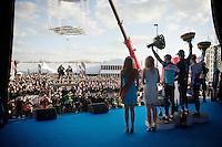 Backstage view  on the winners podium of the 58th E3 Harelbeke.<br /> 1/ Geraint Thomas (GBR/SKY)<br /> 2/ Zdenek Stybar (CZE/Etixx-QuickStep)<br /> 3/ Matteo Trentin (ITA/Ettix-Quickstep)