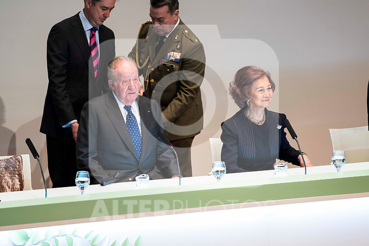 King Juan Carlos and Queen Sofia attends to the act of imposition of the great cross of the civil order of Alfonso X el Sabio to D. Francisco Luzon Lopez at Reina Sofia Museum in Madrid. March 13, 2017. (ALTERPHOTOS/Borja B.Hojas)