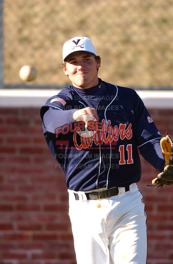 19 Feb. 2005: University of Virginia third baseman Ryan Zimmerman prior to a game against the Bucknell Bison. Zimmerman was named a 2005 Second Team Preseason All-American by Baseball America, Preseason Second Team All-American by the National Collegiate Baseball Writers Association (NCBWA) and Preseason Third Team All-American by Collegiate Baseball. Virginia defeated the Bison at Virginia's Davenport Field in a doubleheader 2-0 and 13-3. (Tom Priddy/Four Seam Images)
