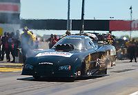 Sep 5, 2020; Clermont, Indiana, United States; NHRA funny car driver Justin Schriefer during qualifying for the US Nationals at Lucas Oil Raceway. Mandatory Credit: Mark J. Rebilas-USA TODAY Sports