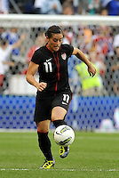 USWNT defender Ali Krieger (11) brings the ball upfield.....USWNT played to a 1-1 tie with Canada at LIVESTRONG Sporting Park, Kansas City, Kansas.