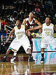 Alabama State Hornets guard Tramaine Butler (21) and Alabama State Hornets guard Kenderek Washington (20) in action during the SWAC Tournament game between the Alabama State Hornets and the  Alabama A&M Bulldogs at the Special Events Center in Garland, Texas. Alabama State Hornets defeat Alabama A&M Bulldogs 81 to 61