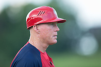 Washington Nationals minor league co-field coordinator Tommy Shields coaches third base for the Hagerstown Suns during the game against the Kannapolis Intimidators at Kannapolis Intimidators Stadium on July 10, 2017 in Kannapolis, North Carolina.  The Suns defeated the Intimidators 8-5.  (Brian Westerholt/Four Seam Images)