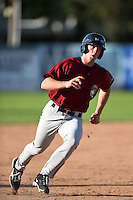 Mahoning Valley Scrappers outfielder Nick Hamilton (17) rounds third during a game against the Jamestown Jammers on June 15, 2014 at Russell Diethrick Park in Jamestown, New York.  Jamestown defeated Mahoning Valley 9-4.  (Mike Janes/Four Seam Images)