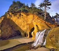 Hug Point waterfall in Clatsop County near Cannon Beach, Oregon