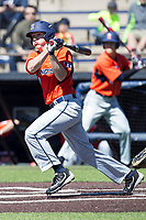 Illinois Fighting Illini designated hitter Casey Dodge (31) follows through on his swing against the Michigan Wolverines during the NCAA baseball game on April 8, 2017 at Ray Fisher Stadium in Ann Arbor, Michigan. Michigan defeated Illinois 7-0. (Andrew Woolley/Four Seam Images)