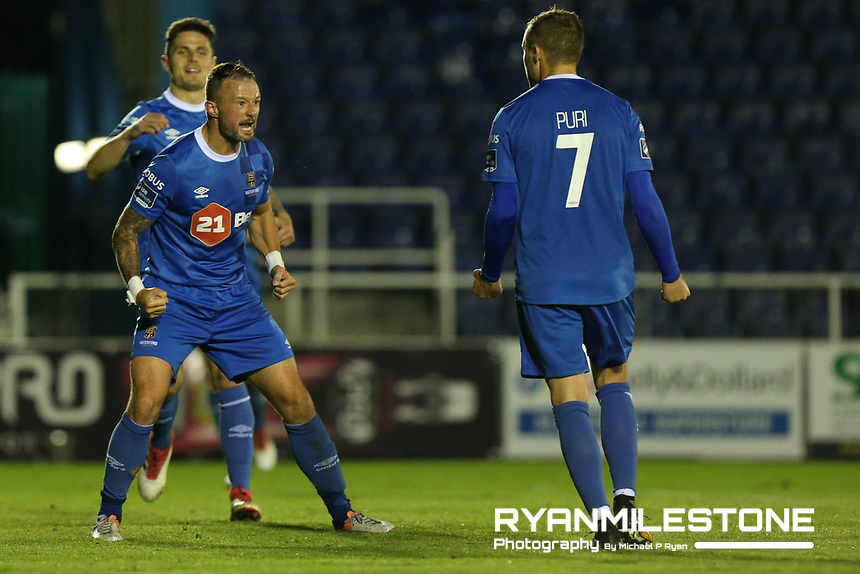 Noel Hunt of Waterford celebrates after scoring a goal<br /> during the SSE Airtricity League Premier Division game between Waterford FC and Bray Wanderers on Friday 14th September 2018 at the RSC, Waterford. Photo By Michael P Ryan