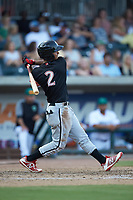 Lenyn Sosa (2) of the Kannapolis Intimidators follows through on his swing against the Augusta GreenJackets at SRG Park on July 6, 2019 in North Augusta, South Carolina. The Intimidators defeated the GreenJackets 9-5. (Brian Westerholt/Four Seam Images)
