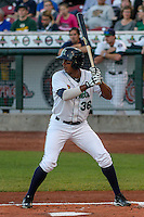 Cedar Rapids Kernels infielder Edgar Corcino (36) at bat during game five of the Midwest League Championship Series against the West Michigan Whitecaps on September 21st, 2015 at Perfect Game Field at Veterans Memorial Stadium in Cedar Rapids, Iowa.  West Michigan defeated Cedar Rapids 3-2 to win the Midwest League Championship. (Brad Krause/Four Seam Images)