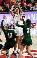 COLLEGE PARK, MD - DECEMBER 8: Stephanie Jones #24 of Maryland takes a shot during a game between Loyola University and University of Maryland at Xfinity Center on December 8, 2019 in College Park, Maryland.