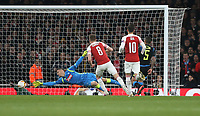Arsenal's Aaron Ramsey scores his side's first goal  <br /> <br /> Photographer Rob Newell/CameraSport<br /> <br /> UEFA Europa League First Leg - Arsenal v Napoli - Thursday 11th April 2019 - The Emirates - London<br />  <br /> World Copyright © 2018 CameraSport. All rights reserved. 43 Linden Ave. Countesthorpe. Leicester. England. LE8 5PG - Tel: +44 (0) 116 277 4147 - admin@camerasport.com - www.camerasport.com
