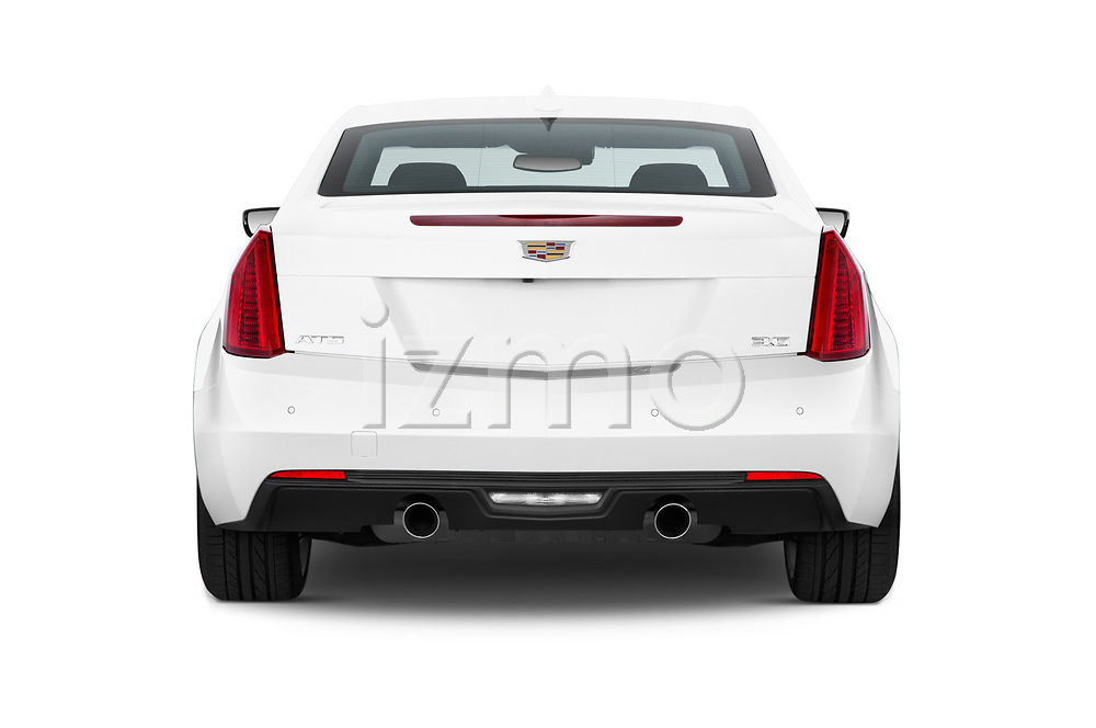 Straight rear view of a 2019 Cadillac ATS Coupe Premium Performance 2 Door Coupe stock images
