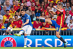 Antonio Candreva (L) of Italy fights for the ball with Jordi Alba (R) of Spain during their 2018 FIFA World Cup Russia Final Qualification Round 1 Group G match between Spain and Italy on 02 September 2017, at Santiago Bernabeu Stadium, in Madrid, Spain. Photo by Diego Gonzalez / Power Sport Images