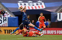 Cleveland, Ohio - Tuesday June 12, 2018: Samantha Mewis, Yao Wei during an international friendly match between the women's national teams of the United States (USA) and China PR (CHN) at FirstEnergy Stadium.