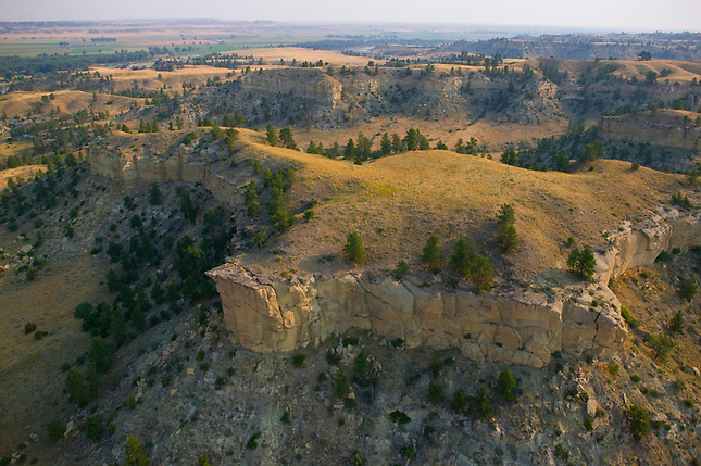 Towering cliffs in badlands of eastern Montana