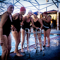 For the first time in the 48 year history of the Aquadettes, the team will allow one of their members to use a device to move when they are out of the water. Beacuse she can no longer get around without it, 73 year old Margo Bouer's walker will be poolside throughout the performance at Laguna Woods, California. Margo suffers from severe MS, but says her nausea and shaking almost disappear when she is in the swimming pool. She has been with the Aquadettes for 16 years. The Aquadettes are a group of women ageing from their early 60s upwards who meet to practice synchronised swimming. Every year, they practice together, they make costumes together, they swim together, and at the end, they perform together.