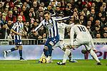 Real Madrid´s Nacho Fernandez and Isco and Deportivo de la Coruna's Lucas Perez during 2014-15 La Liga match between Real Madrid and Deportivo de la Coruna at Santiago Bernabeu stadium in Madrid, Spain. February 14, 2015. (ALTERPHOTOS/Luis Fernandez)