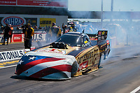 Sep 5, 2020; Clermont, Indiana, United States; NHRA funny car driver Jim Campbell during qualifying for the US Nationals at Lucas Oil Raceway. Mandatory Credit: Mark J. Rebilas-USA TODAY Sports