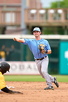 FCL Rays shortstop Ben Troike (86) turns a double play during a game against the FCL Pirates Gold on July 26, 2021 at LECOM Park in Bradenton, Florida. (Mike Janes/Four Seam Images)