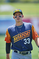 Frank Schwindel (33) of the Las Vegas Aviators before the game against the Salt Lake Bees at Smith's Ballpark on June 27, 2021 in Salt Lake City, Utah. The Aviators defeated the Bees 5-3. (Stephen Smith/Four Seam Images)