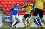 St Johnstone v Livingston.....30.11.13     Scottish Cup 4th Round<br /> Dave Mackay takes on Martin Scott<br /> Picture by Graeme Hart.<br /> Copyright Perthshire Picture Agency<br /> Tel: 01738 623350  Mobile: 07990 594431