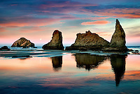 Low tide at Bandon beach with full mon set. Oregon