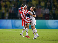 Natasha Kai, Heather O'Reilly. The USWNT defeated Brazil, 1-0, to win the gold medal during the 2008 Beijing Olympics at Workers' Stadium in Beijing, China.