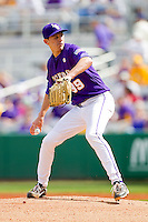 Starting pitcher Kurt McCune #39 of the LSU Tigers in action against the Wake Forest Demon Deacons at Alex Box Stadium on February 20, 2011 in Baton Rouge, Louisiana.  The Tigers defeated the Demon Deacons 9-1.  Photo by Brian Westerholt / Four Seam Images