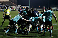 London Scottish surge in the maul during the Greene King IPA Championship match between London Scottish Football Club and Nottingham Rugby at Richmond Athletic Ground, Richmond, United Kingdom on 7 February 2020. Photo by Carlton Myrie.