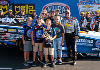Sep 2, 2019; Clermont, IN, USA; NHRA funny car driver John Force celebrates with Robert Hight and family after winning the US Nationals at Lucas Oil Raceway. Mandatory Credit: Mark J. Rebilas-USA TODAY Sports