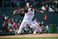 Rochester Red Wings relief pitcher Nick Greenwood (46) delivers a pitch during a game against the Toledo Mudhens on June 12, 2016 at Frontier Field in Rochester, New York.  Rochester defeated Toledo 9-7.  (Mike Janes/Four Seam Images)