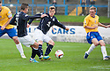 Dundee's Jim McAlister knocks the ball into the net but his goal was waved offside by Assistant Referee Morag Pirie.