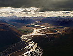 Aerial view of the upper Rakaia river and the Southern Alps. The Canterbury Region of New Zealand.