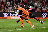 1st May 2021; Bankwest Stadium, Parramatta, New South Wales, Australia; A League Football, Western Sydney Wanderers versus Sydney FC; Andrew Redmayne of Sydney  collects the through ball before the advancing Bruce Kamau of Western Sydney Wanderers