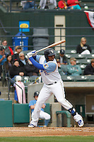 Myrtle Beach Pelicans first baseman Yasiel Balaguert (12) at bat during a game against the Frederick Keys at Ticketreturn.com Field at Pelicans Ballpark on April 10, 2016 in Myrtle Beach, South Carolina. Myrtle Beach defeated Frederick 7-5. (Robert Gurganus/Four Seam Images)