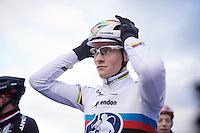 Mathieu Van der Poel (NLD/BKCP-Corendon) at the start grid<br /> <br /> Duinencross Koksijde WorldCup 2015