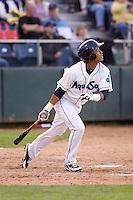 Everett AquaSox second baseman Ketel Marte #21 at bat during a game against the Spokane Indians at Everett Memorial Stadium on June 20, 2012 in Everett, WA.  Everett defeated Spokane 9-8 in 13 innings.  (Ronnie Allen/Four Seam Images)