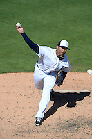 Detroit Tigers pitcher Jose Ortega (56) during a spring training game against the St. Louis Cardinals on March 3, 2014 at Joker Marchant Stadium in Lakeland, Florida.  Detroit defeated St. Louis 8-5.  (Mike Janes/Four Seam Images)
