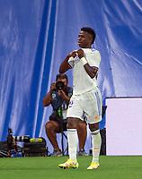 12th September 2021; Estadio Santiago Bernabeu, Madrid, Spain; La Liga, Real Madrid CF versus RC Celta de Vigo; Vinicius celebrates his goal