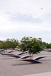 Pentagon 911 Memorial With Airplane Flying in Background