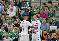 Dublin, Ireland - Saturday June 02, 2018: Bobby Wood, Josh Sargent during an international friendly match between the men's national teams of the United States (USA) and Republic of Ireland (IRE) at Aviva Stadium.