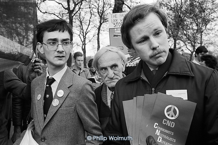 Coalition for Peace through Security pro-Falklands War rally, Speakers' Corner, Hyde Park, London; May 1982.